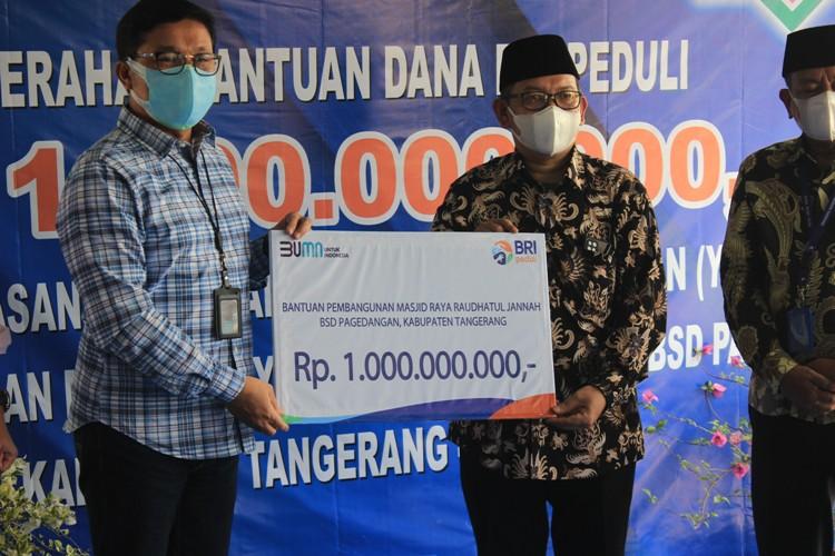BRI Salurkan Donasi Rp 1 Miliar  Untuk  Pembangunan Masjid Raya Raudhatul Jannah BSD Pagedangan