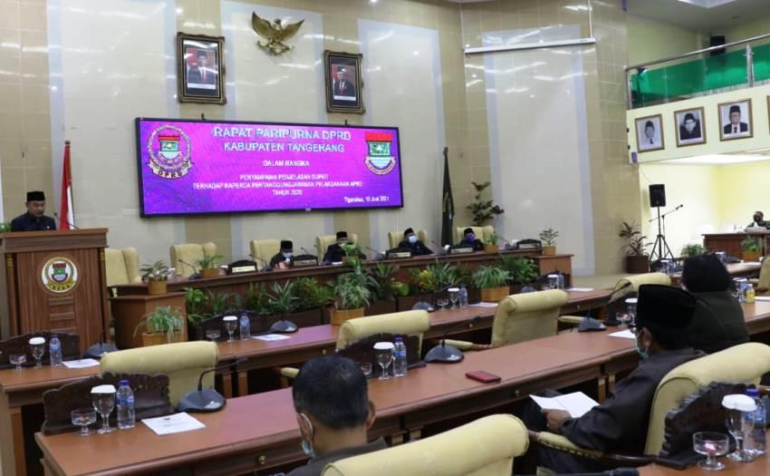 DPRD Kabupaten Tangerang Gelar  Rapat Paripurna  Penjelasan Bupati Terhadap Raperda Pertanggungjawaban Pelaksanaan APBD Tahun 2020